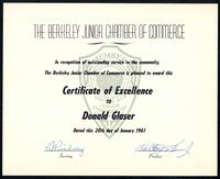 Berkeley Junior Chamber of Commerce - Certificate of Excellence, 1961 January