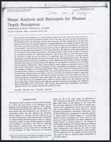 Shape analysis and stereopsis for human depth perception, Vision Research Vol. 32, No. 3 1992 March, 1992 March