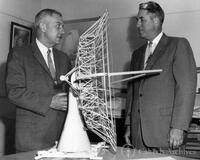 Lee DuBridge and Bruce Rule with model of 90' antenna