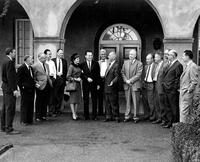 Donald A. Glaser with group during visit to Caltech, fall 1960