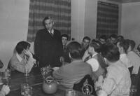 Lee DuBridge speaking to an upper class luncheon club