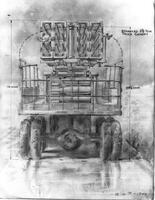 Rear vew of truck with launcher and stowed rockets