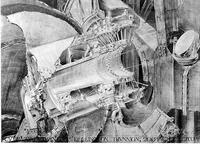 Cutaway Drawing of Declination Trunnion, 200-Inch Telescope