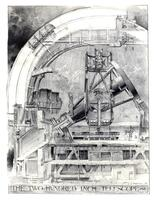 "Cutaway sketch of 200"" telescope and dome"