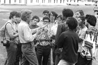 Richard Feynman with students at Freshman Camp