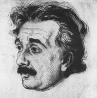 Albert Einstein.  Etching by Hermann Struck
