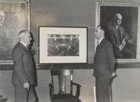 Robert A. Millikan and Carl Anderson with cloud chamber photo