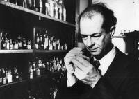 Linus Pauling in lab