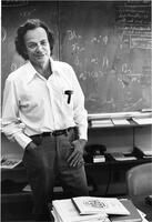 Richard Feynman in his office at Caltech