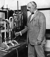 Robert A. Millikan at work in his laboratory