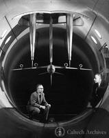 Clark Millikan with an unidentified man in the 10-foot wind tunnel