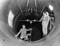 Arthur (Maj) Klein and Clark Millikan in 10-foot wind tunnel