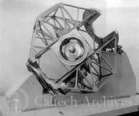 Edgar-Serrurier-Porter model of frame-yoke, close-up from SE, telescope aimed at camera