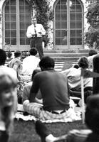 Harold Brown at Freshman picnic supper, 1971