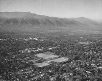 Aerial view of the campus looking NE toward the San Gabriel and San Bernardino mountains