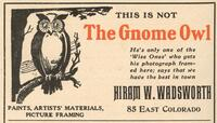 1906 advertisement--Not the Gnome Owl