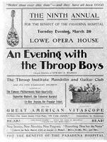 "Poster: ""An Evening with the Throop Boys"" Throop Institute Mandolin and Guitar Club"