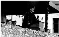 John Gardner speaking at commencement
