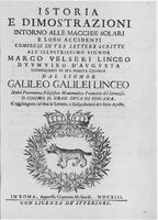 Galileo, title page from Istoria e Dimostrazioni intorno alle Macchie Solari (History and Demonstration concerning Sunspots), Rome,1613