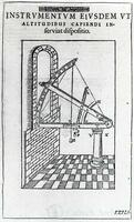 Mounting of the steel sextant for observations of altitudes, from Tycho Brahe, Astronomiae Instauratae Mechanica