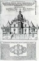 Perspective rendering and plan of the main building of Uraniborg on the island of Hven, built by Tycho Brahe about 1580, from Tycho Brahe, Astronomiae Instauratae Mechanica