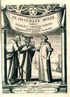 Galileo, portrait of three astronomers, frontispiece from Systema Cosmicum, Augustae Treboc. [Strasbourg], 1635