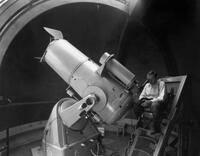 "Fritz Zwicky at the 18"" Schmidt telescope at Palomar Observatory"